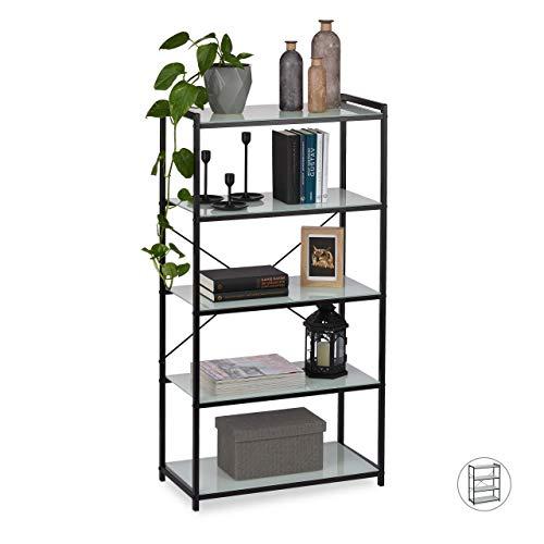 Relaxdays Staand rek glas, modern metalen rek met glazen planken, dwars, 5 vakken, keuken & badkamer, 114,5 x 60 x 30 cm, zwart, ijzer