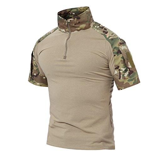 MAGCOMSEN Combat Shirts Men Tactical Shirts Camo Shirts Polo Shirts for Men Multicam Shirts Men Military Shirts Army Shirt Hiking Shirts Work Shirts Summer Shirts Fishing Shirts