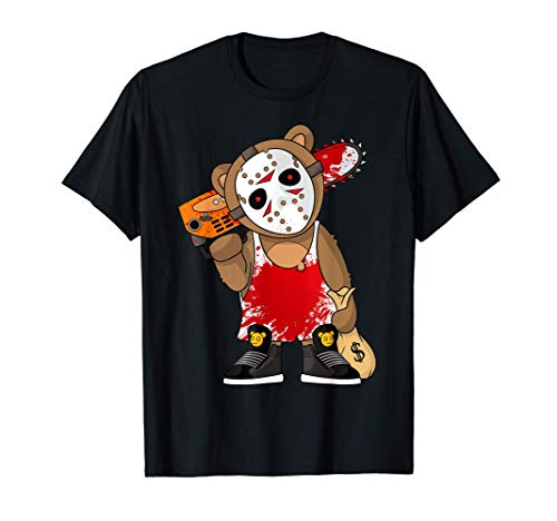 Hockey Teddy Bear Parodia Terror 13.o Hip Hop Halloween Camiseta