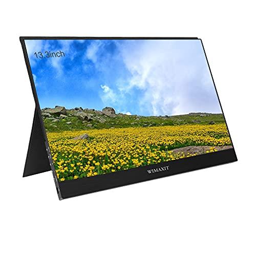 WIMAXIT Monitor portátil de 13,3 pulgadas, Full HD 1080p, USB C, monitor dual Mini HDMI, 72% de color, altavoz ultrafino integrado para portátiles, smartphones, PS4, Xbox