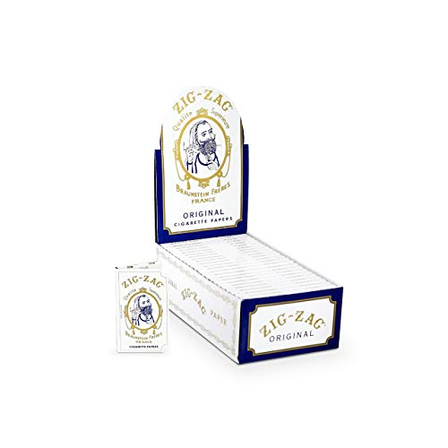 Zig-Zag Rolling Papers – Original White 70 mm Paper – Natural Gum Arabic – Thin Glue Sealing Line – 24 Booklets with 32 Papers per Booklet
