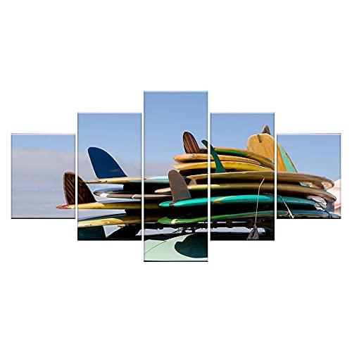 GONGXIANG Lienzo Art Deco De Pintura Moderna para Sala De Estar O Dormitorio Tablas De Surf En Coche 5 Piezas De 80X150Cm XXL