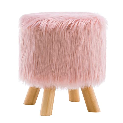 Apicizon Foot Stool Faux Fur Round Ottoman, Soft Furry Compact Padded Vanity Seat with 4 Natural Wood Legs, Bedroom, Living Room, Kid's Room, Pink
