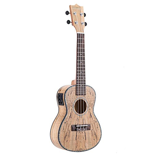 ammoon Ukulele 24in con LED EQ Cowry Shell Brims OX Bone Saddle 4 Strings Instrument Gift