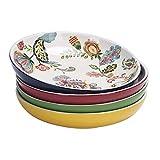Bico Ceramic - Juego de 4 cuencos para pasta, ensalada, cereales, sopa, microondas y lavavajillas