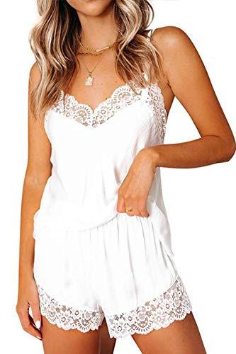 CHYRII Women's Satin Pajamas Women Sexy Backless Cami Tops Shorts Two Piece Pijamas Nightwear White L