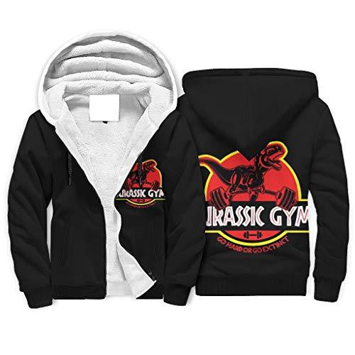 Generic Brand Jurassic Gym - Sudadera con capucha térmica para hombre (talla 2XL), color blanco