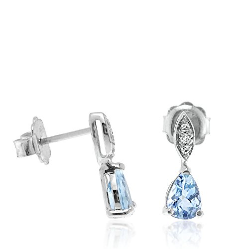 Gioiello Italiano - Pendientes de gota de oro blanco de 18kt con diamantes 0.06ct y aguamarina 1.19ct, para mujeres