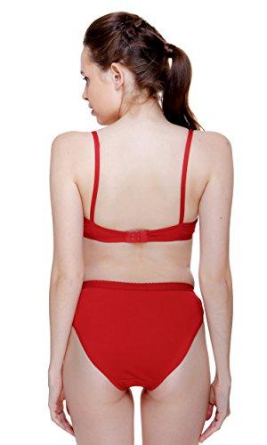 Fashion Comfortz Women'S Girls Lace Lycra Spandex (4Way) Bikini Set for Women Womens Girls Ladies Undergarments Bra Panty Set for Women with Sexy Cherry red