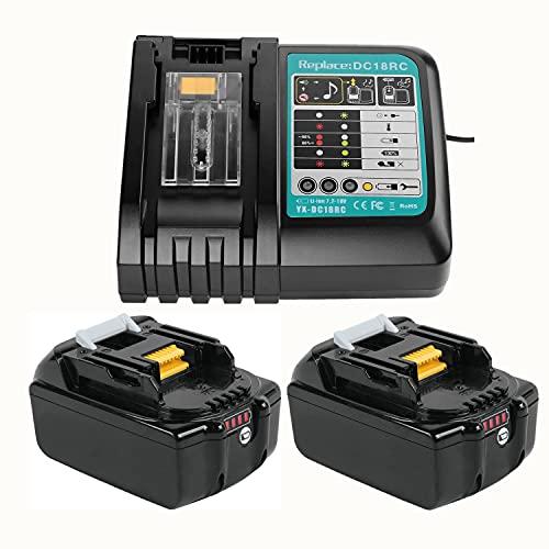 TPLS 2 batterie di ricambio BL1830B, 18 V, 3,0 Ah, con caricatore per batterie utensili Makita BL1860B BL1860 BL1840B BL1840 BL1830B BL1830 BL1845 BL1835 LXT-400 197280-8 con indicatore