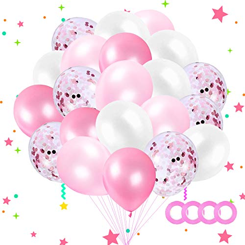 Sunshine smile 60 pcs Luftballons Pink, Ballons,konfetti Luftballons,Luftballons Hochzeit,Latex Glitter Ballons,Heliumluftballons,partyballons,Verdicken 3.2G, 4 Farbe.