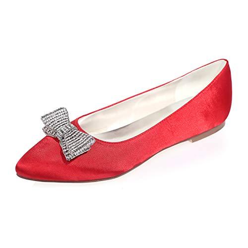 Mujer Satén Diamante Zapatos De Novia Planos Bailarinas Puntiagudas Chiusa Zapatos De...