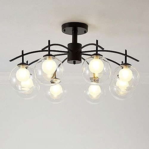 LLLKKK Lámpara de techo colgante vintage rústica industrial de hierro con tres pliegues, iluminación de techo para cocina, isla de la cocina, candelabro (color: 6 luces)