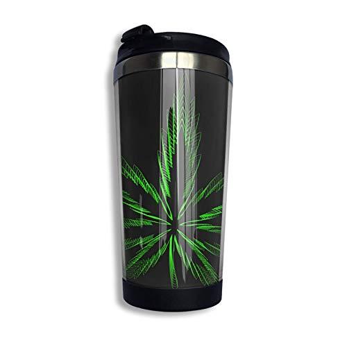 Vaso de acero inoxidable Vaso aislado colorido Vaso Vaso de agua de doble pared Taza de cannabis Marihuana Hoja de cáñamo