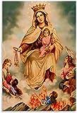ZRRTTG Mural con Estampado De Arte Virgen María Nuestra Señora del Carmen para la decoración de la Sala de Estar PóSter Lienzo Pintura Pared 23.6'x35.4'(60x90cm) Sin Marco