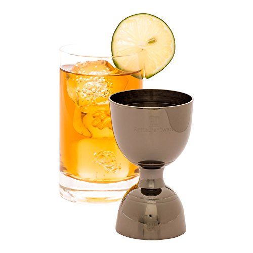 Jigger Cocktail Jigger  Bell Style Double Sided Jigger  1 oz / 2 oz  Black Plated  Stainless Steel  Professional Grade  1ct Box  Restaurantware