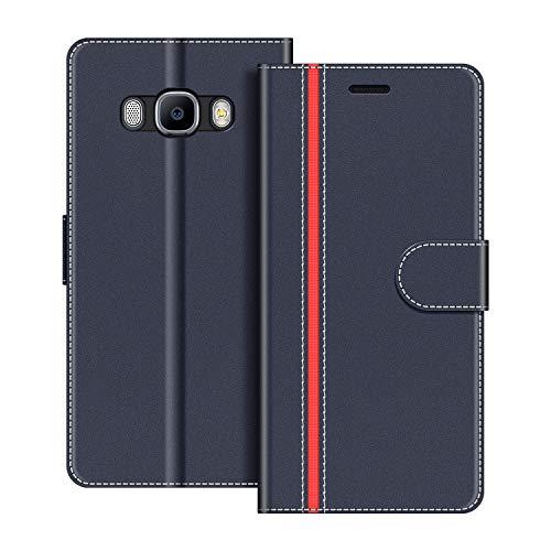 COODIO Funda Samsung Galaxy J7 2016 con Tapa, Funda Movil Samsung J7 2016, Funda Libro Galaxy J7 2016 Carcasa Magnético Funda para Samsung Galaxy J7 2016, Azul Oscuro/Rojo