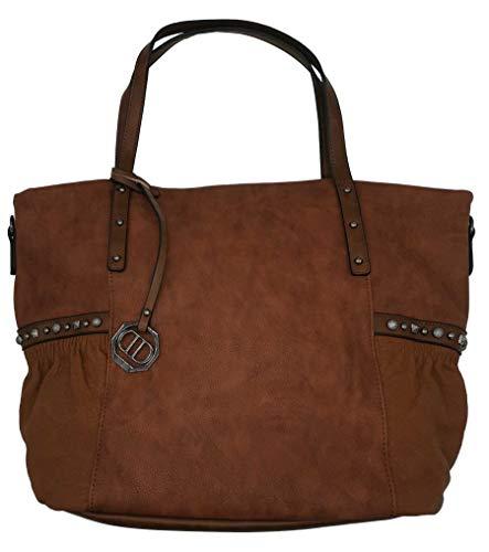 Dudlin Shopper Tasche Nieten seitlich Handtasche Shopperbag (braun)