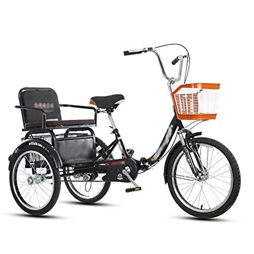 LICHUXIN 20 Pulgadas Plegable Compras Triciclo Adultos con Asiento Respaldo y Cesta Grande Triciclo para Adultos Ejercicio Picnic Compras Recreativas (Color : Black)