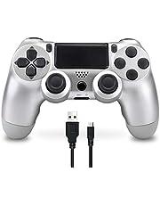 Controller Wireless per PS4, Bluetooth Gamepad Joystick con 6 Assi Dual Shock per Playstation 4/PS4 Slim/PS4 Pro (Argento)