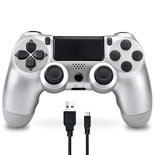 Mando Inalámbrico para PS4, Mando Inalámbrico Compatible con Playstation 4/PS4 Slim/PS4 Pro, Inalámbrico Controlador con Vibración Doble/6-Axis Gyro/Turbo/Panel táctil (Plata)