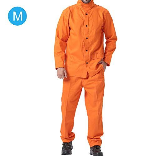 Huairdum Sicherheitsarbeitskleidung, verschleißfeste Schutzanzüge Zweiteiliges SetOrange Brandschutzschweißgerät(X-Orange)