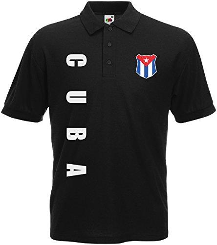 Kuba Cuba Polo-Shirt Trikot Wunschname Wunschnummer (Schwarz, L)