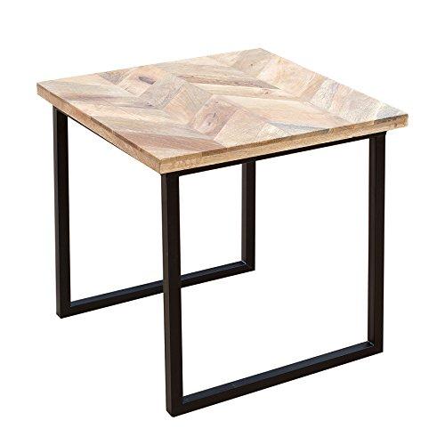 Invicta Interior Moderner Beistelltisch Elements 45cm Mangoholz eckig Natur Massivholz Couchtisch Wohnzimmertisch Holztisch Tischplatte aus Mangoholz