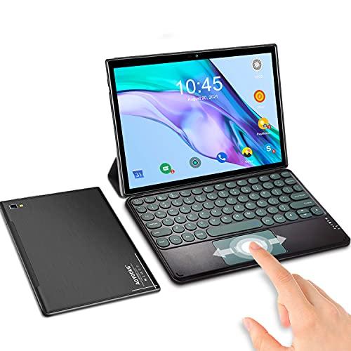 Tablet 10 Pulgadas Android 10.0 6GB de RAM 64GB de ROM   SD 512GB, Tableta 5G WiFi 4G LTE Ultrar-Rápido Tablet PC Baratas y Buenas Quad-Core 1920 * 1200   OTG  GPS   Type-C   con Teclado (Negro)