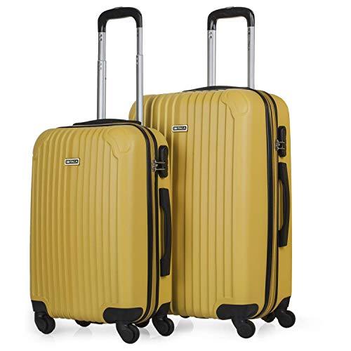 ITACA - Juego de Maletas de Viaje Ligeras 2 Pzs. Set Trolley ABS 4 Ruedas (Cabina + Mediana) Rígidas y Resistentes. Conjunto Equipaje Avión. t71515, Color Mostaza