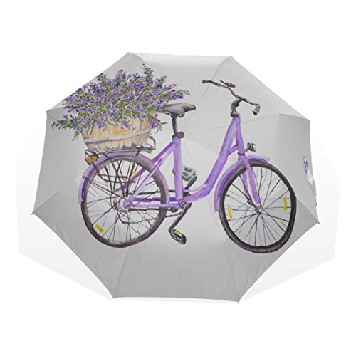 Compact Umbrella Kids Spring Nature Romantic Bicycle Flower 3 Fold Art Umbrellas(outside Printing) Outdoor Folding Umbrella Best Travel Umbrella Sun&rain Travel Umbrella