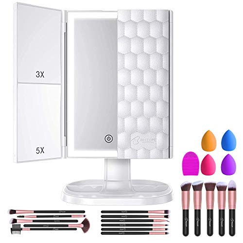 BESTOPE Makeup Brushes 16PCs Makeup Brushes Set with 4PCs Makeup Sponge and 1 Brush Cleaner + Makeup Mirror with Lights Vanity Mirror with 3X 5X Magnification 72 LED Lighted Trifold Makeup Mirror