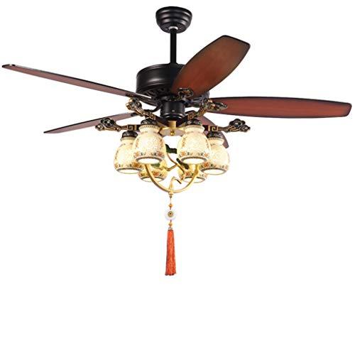 Ventilador de Techo con Luz Techo nuevo chino Luz del ventilador con la lámpara de cerámica remoto del interruptor de control for hogares Sala eléctrica de la lámpara del ventilador, 52' Ventilador de