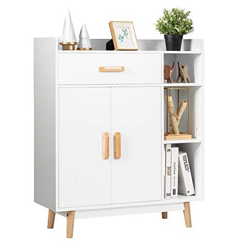 COSTWAY Sideboard weiß, Konsolenschrank aus Holz, Schubladenkommode freistehend, Beistellschrank Aufbewahrungsregal für Zuhause und Büro