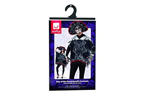 SMIFFYS Costume Bandito Giorno dei Morti, Bianco e nero, con poncho, sombrero e guanti
