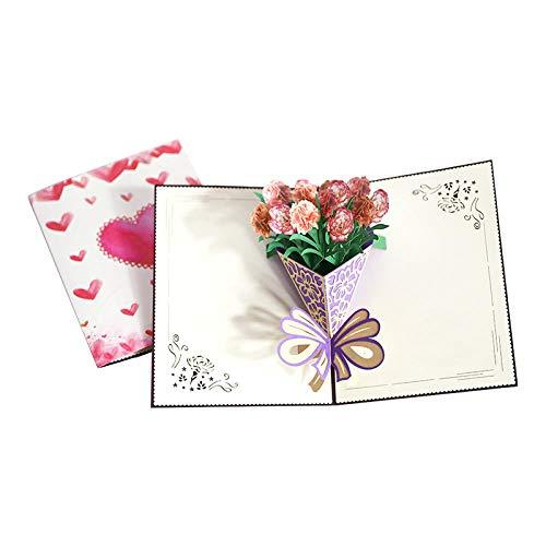 2 Stücke 3D Pop-Up Grußkarte Rosa Nelke Handgemachte Papier Schnitzen Geburtstagsgeschenk Diy Segenkarte Für Muttertag Erntedankfest Grußkarten Danke Karte