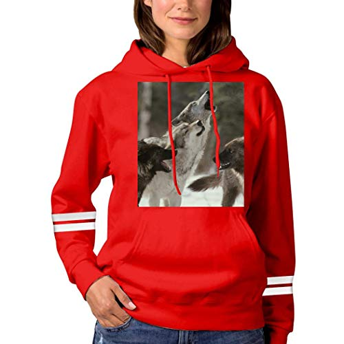 4 Wolves in The Forest Sweatshirt 3D Print Hooded Sweatshirt Funny Pullover Tops Fall Winter for Women Red L
