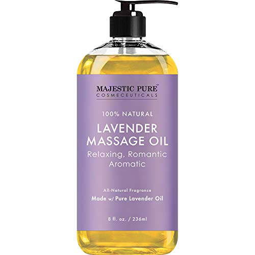 MAJESTIC PURE Lavender Massage Oil For Men and Women - Great For Calming, Soothing and to Relax - Blend of Natural Oils For Therapeutic Massaging and Aromatherapy - 8 fl oz.