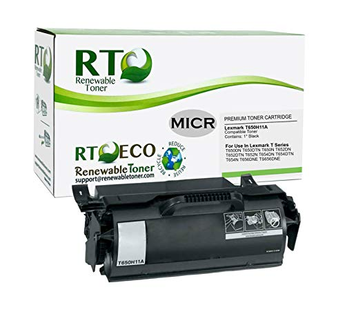 Renewable Toner Compatible High Yield MICR Toner Cartridge Replacement for Lexmark T650H11A T Series T650 T652 T654 T656