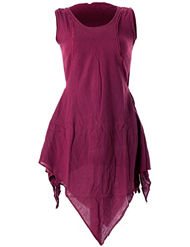 Vishes - Alternative Bekleidung - Zipfeliges Lagenlook Shirt Tunika aus handgewebter Baumwolle - im Used-Look dunkelrot 42 (2XL)