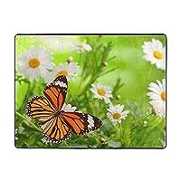 Butterfly On Daisy Flower カーペット,洗濯機で洗える160cmx120cm 寝室、居間、寮、滑り止めフロアマット、厚くて丈夫な フロアマット,人気のオシャレ カーペットランキング
