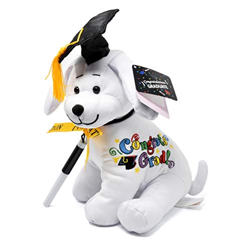 """Gift Boutique Graduation Autograph Dog with Pen for Signature, Congrats Grad with Black Hat 10.5""""H Stuffed Plush Puppy Animal Gift Toys for Elementary Preschool Graduate Student Kids Party Decor"""