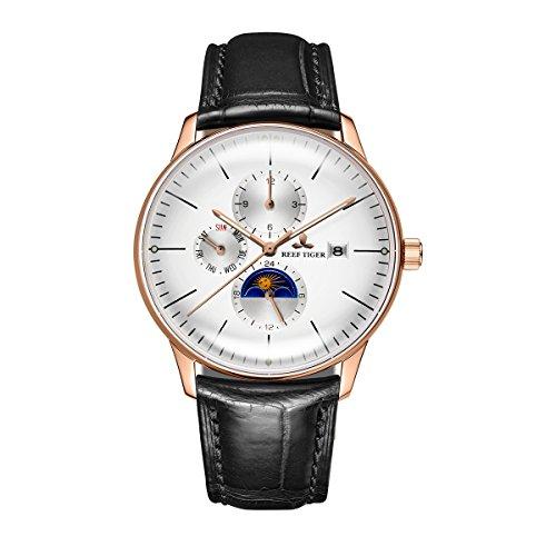 REEF TIGER Herren Uhr analog Automatik mit Leder Armband RGA1653-PWB