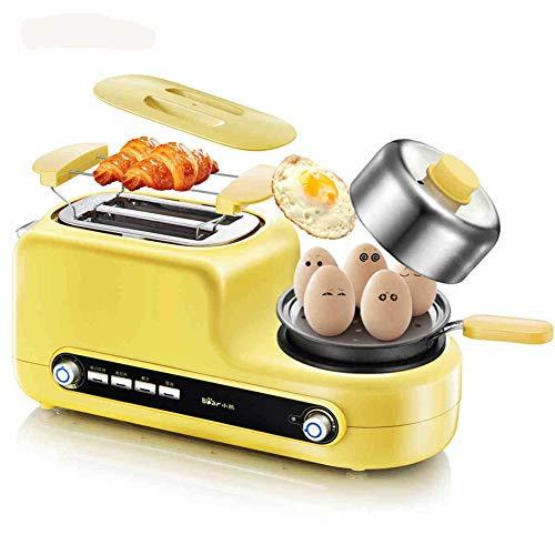 Draagbare Mini Home 5-in-1 broodrooster met eierkoker, 2-delige broodrooster met mini roestvrijstalen koekenpan Zes kramen Onafhankelijke temperatuurregeling