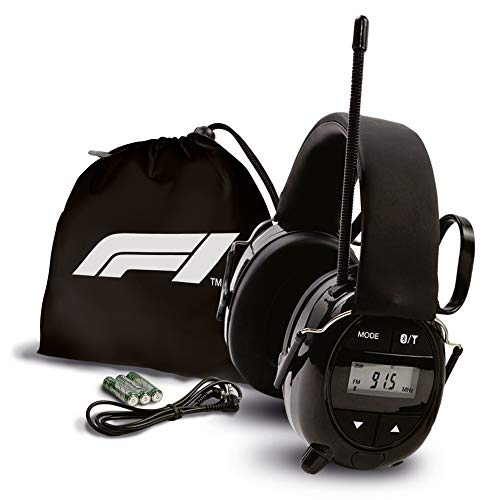 Formula 1 Bluetooth Radio Gehörschutz – Sicherheits-Ohrenschützer mit AM/FM-Radioempfänger - Digitalbildschirm & Bluetooth-Verbindung - Tasche und Batterien – Musik hören und Gehör schützen!