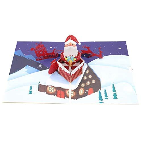 Aruie 3D-Grußkarte aus Papier, bedruckt, gefaltet, für Haus, Kamin, Weihnachtsmann, Schlitten, Rentier, Tanne, Party, Segen, kreatives Weihnachtsgeschenk