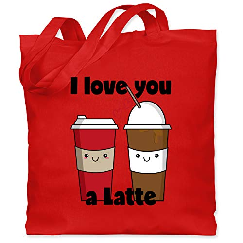 Shirtracer Valentinstag - I love you a Latte schwarz - Unisize - Rot - XT600_Jutebeutel_lang - WM101 - Stoffbeutel aus Baumwolle Jutebeutel lange Henkel