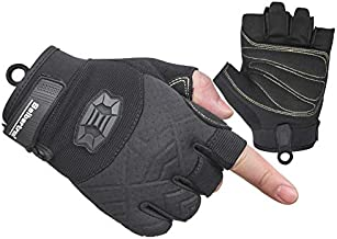 Seibertron Half Finger Padded Palm Lightweight Breathable Climbing Rope Gloves for Climbers, Rock Climbing, Rescue, Adventure, Sailing, Kayaking, Outdoor Sports Black S