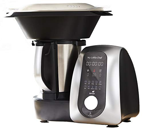 Senya Robot De Cuisine Multifonction My Little Chef noir et silver, 13 programmes automatiques 10 vitesses, site recettes dédiée, balance cuisine fournie, bol Inox, 1700W