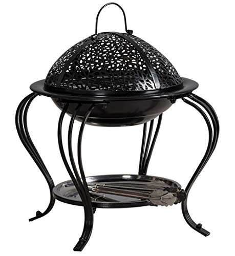 Auoeer Large Retro Fire Pit, Black Cast Iron Brazier Heater, Multifunctional Camping Bowl BBQ, For Indoor Outdoor Garden Patio Grill Wood Charcoal